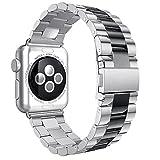 AISPORTS Für Apple Watch Armbänder 42mm iWatch Strap 42mm Edelstahl Smart Watch Band Ersatzband Armband für 42mm Apple Watch Serie 3/2/1 Sport Edition - Silber/Schwarz
