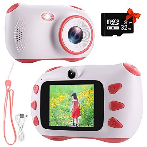 RUMIA Kinderkamera Fotoapparat Kinder Digitalkamera Mit 2 Zoll IPS-Bildschirm,1080P HD, 32G TF Karte Geschenke Spielzeug für Jungen und Mädchen (Rosa)