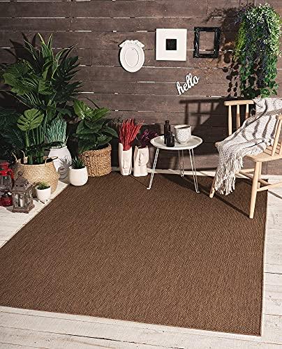 the carpet Mistra In- & Outdoor Teppich Flachgewebe, Modernes Design, Trendige Farben, Superflach, UV- und Witterungsbeständig, Braun, 120 x 170 cm