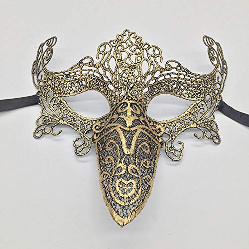 YULEJIA Maskerade Masken,Venedig Halloween Paare Party Gold Fuchs Vergoldeten Schnabel Stereo Spitze Gesicht Halb Maske Karneval Cosplay Mardi Gras Mask Prom Künstler Wanddekoration