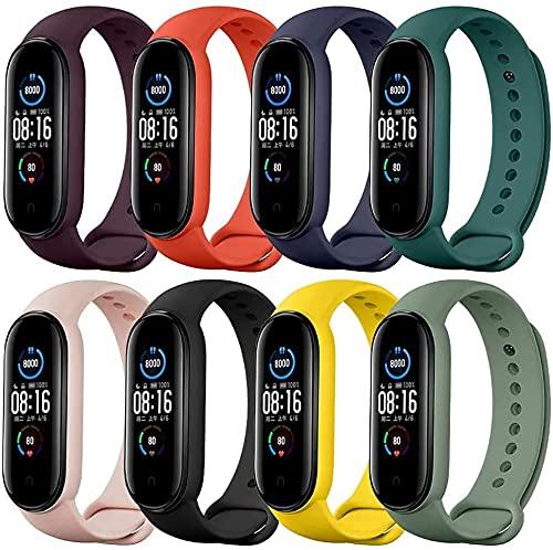 Pulseiras de relógio Sky Dreams para Mi Band 5 e 6, pulseira de silicone de estilo clássico Correia de relógio para Xiaomi Smart Band 5 e 6 (pacote de 8)