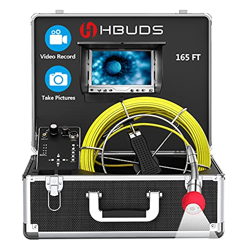 Sewer Inspection Camera 165ft/50M, Hbuds Pipe Inspection Camera with DVR Recorder, IP68 Waterproof Plumbers Snake Endoscope Camera with 7 Inch LCD Color Monitor (8GB SD Card Included)