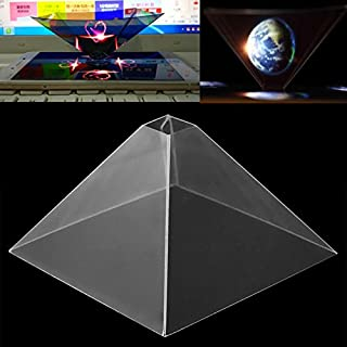Cewaal Smartphone Hologram Projector, 3D Holographic Display Pyramid Projector Video for Mobile Smart Phone