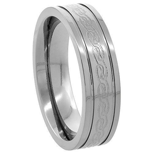 Sabrina Silver 6mm Titanium Wedding Band Etched Celtic Knot Ring Flat Grooved Edges Comfort Fit Size 9.5