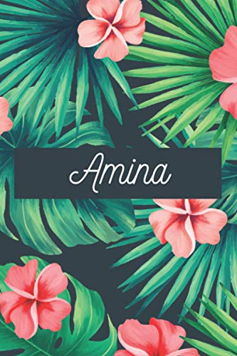 Amina: Personalised name journal notebook diary for Amina, 6x9in lined journal with green and pink flowers cover, journal gift for women and girls, ... and birthday gift for girls and women