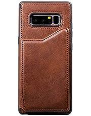 Galaxy Note 8 ケース, OMATENTI 人気おしゃれ PU レザー バックケース, 耐摩擦 耐衝撃 360°保護 ケース カード収納 横置きスタンド機能付き Galaxy Note 8 対応, 褐色