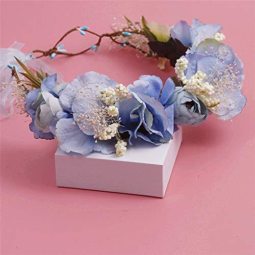 Corona nupcial dulce azul simulación playa flor novias guirnalda boda corona tocado...
