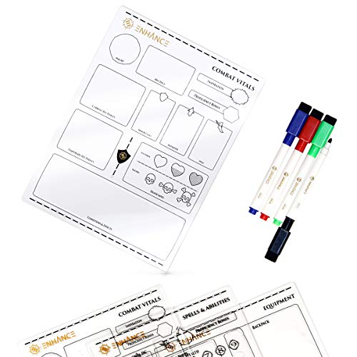 ENHANCE Tabletop Acrylic Character Sheet Set - Reusable 5e Dungeons and Dragons Character Sheets (Combat, Spell, Equipment) for All DND 5e Classes - Includes 3 Sheets, Dry Erase Markers, Travel Pouch