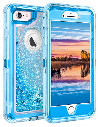 Coolden Case for iPhone SE 2020 iPhone 6S Protective Glitter Case for Women Girls Cute Bling Sparkle 3D Quicksand Heavy Duty Hard Shell Shockproof TPU Case for 4.7 Inches iPhone 6 6S 7 8, Blue