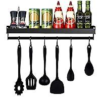 mensola da cucina in mreechan,mensola da cucina portaoggetti organizzatore a parete di utensili da cucina mensola per spezie con 6 ganci rimovibili per corridoio bagno cucina ecc.