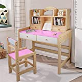 【Shipping from US】 Wooden Student Desk and Chair Set with Drawers and Bookshelves Adjustable Height Student Study Computer Workstation, Kids Bedroom Furniture for Kids Girls Boys (Pink)