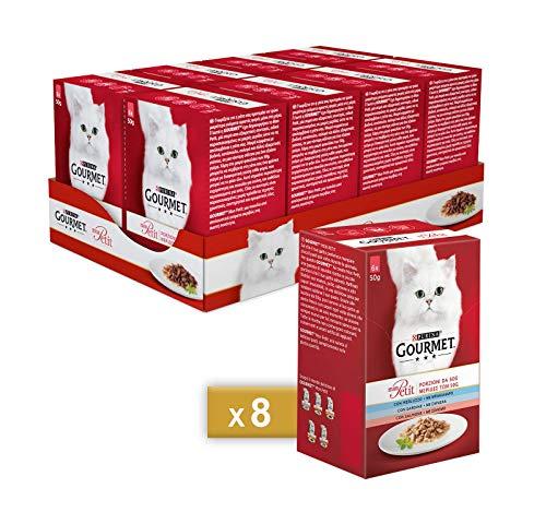 Gourmet Purina Mon Petit Feuchtigkeitskatze Delicate Kreationen mit Fisch, Dorsch, Sardin, Lachs - 48 Beutel à 50 g (8 Packungen à 6 x 50 g)