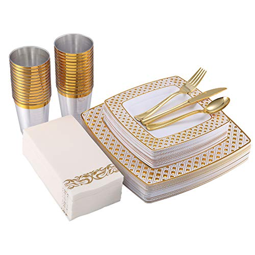 175 Piece Gold Dinnerware Set 25 Guest-50 Diamond Square Plastic Plates-25 Gold Plastic Silverware-25 Gold Plastic Cups-25 Linen Like Gold Paper Napkins, FOCUSLINE Disposable Dinnerware Set