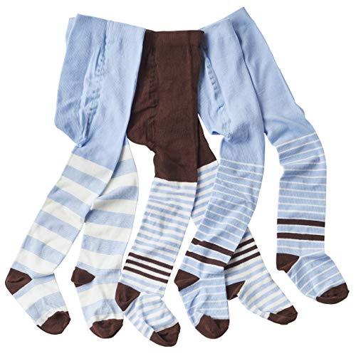 WELLYOU Ensemble de collants bébé et enfant pour garçons, bleu clair/marron, taille 62-128 (62-68)