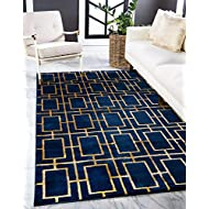 Unique Loom Glam Collection Geometric, Squares, Metallics, Modern, Chic Area Rug, 5' 0 x 8' 0 Rectangular, Navy Blue/Gold