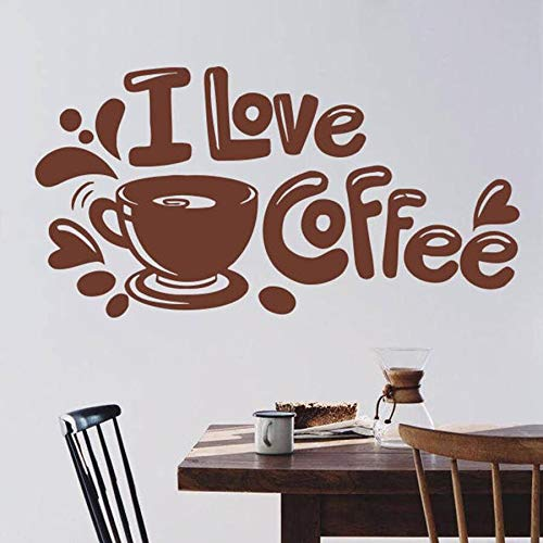Coffee Cup Wall Decal Quotes I Love Coffee Cafe Kitchen Restaurant Interior Art Decor Vinyl Wall Sticker Window Decals
