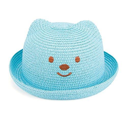 JUNGEN Floppy Chapeau Wide Brim Chapeau De Soleil Fashion Voyage Chapeau de Plage bébé Idéal pour Vacances Bleu Foncé en Paille Bleu 1 PCS