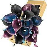 FiveSeasonStuff Real Touch Calla Lily Artificial Flowers Wedding Bridal Bouquet | Floral Arrangements | 15 Calla Lilies (Stargazer Purple Blue & Black)