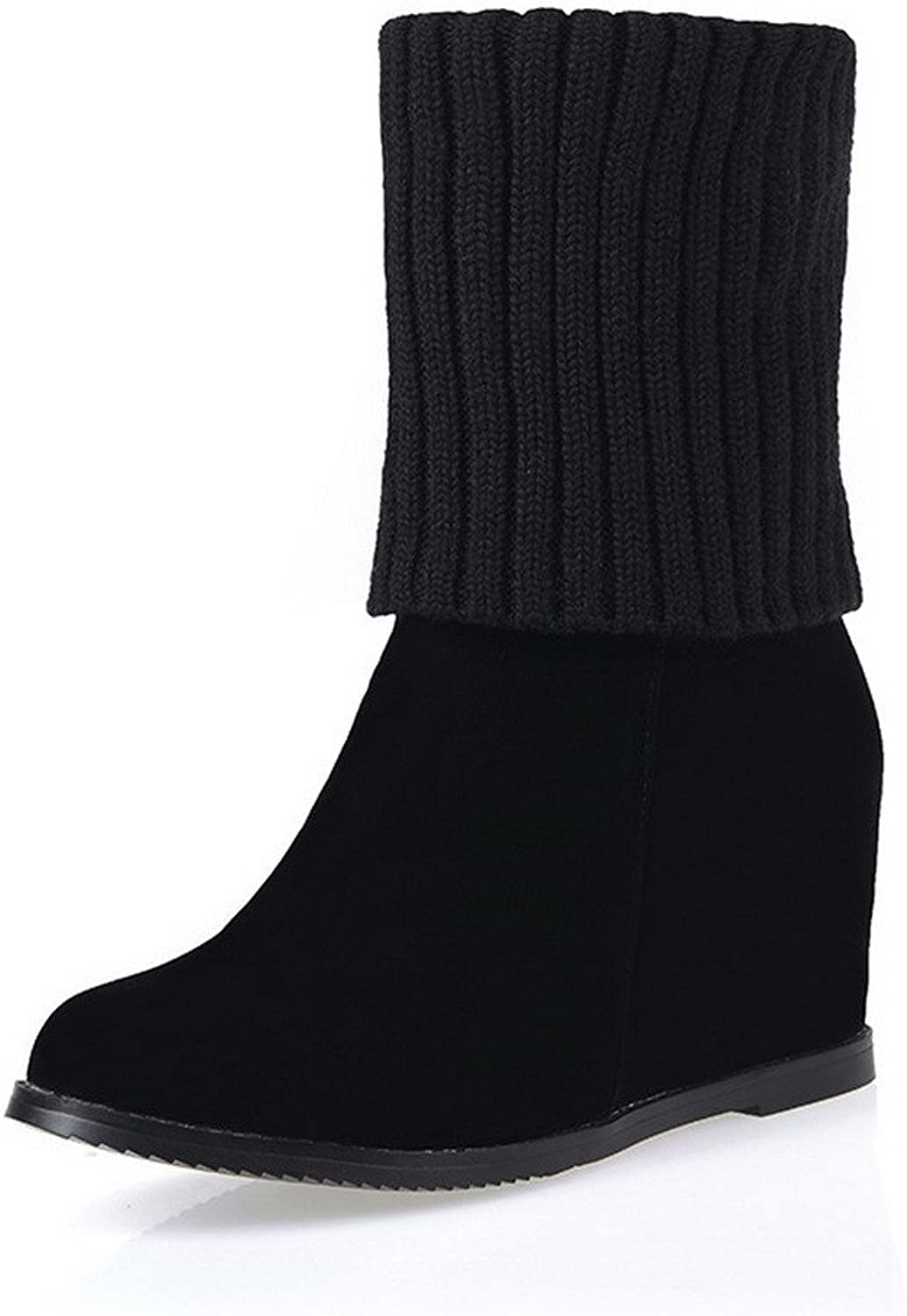 WeiPoot Women's Kitten-Heels Frosted Round Closed Toe Knee-high Boots