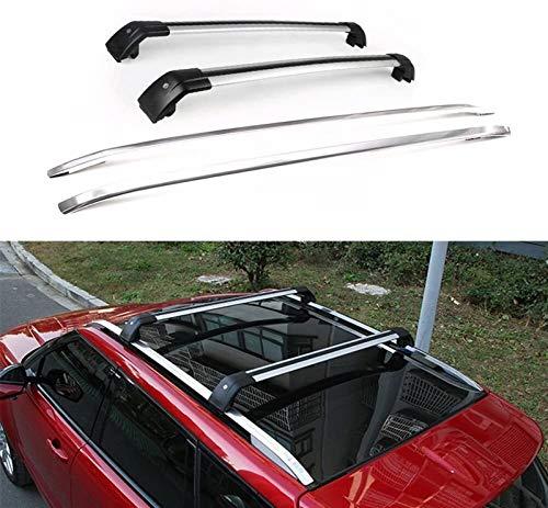 Portaequipajes para coches 4pcs en forma for Tierra Rover- Range Rover Evoque L358 2011-2019 de aluminio for techos Rail barras de techo con cierre barras transversales Barras transversales - Plata