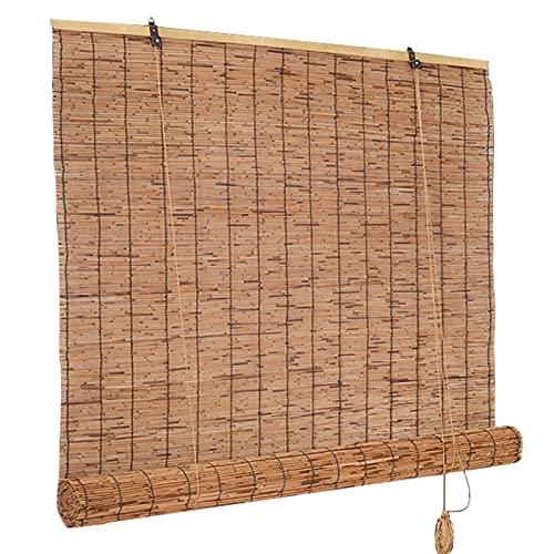 LHYZF Persianas de Rodillos de bambú Transpirables Retro, 50 cm 60 cm 70 cm 80 cm 90 cm 100 cm 110 cm 120 cm 130 cm 140 cm de Ancho, persianas de sombrilla Impermeable, para Patio de jardín