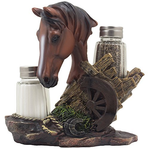 Chestnut Stallion Glass Salt & Pepper Shaker Set with Decorative Brown Horse Statue Holder for Western Ranch Decor or Country Farm Kitchen Table Centerpieces As Collectible Gifts for Farmers