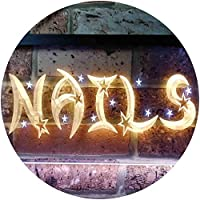 Nails Stars Beauty Salon Illuminated Dual Color LED看板 ネオンプレート サイン 標識 白色 + 黄色 600 x 400mm st6s64-i0596-wy