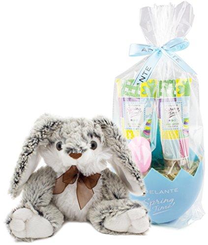 BRUBAKER Cosmetics Coffret de bain - Idée cadeau Pâques - 5 Pièces - Bleu - Peluche lapin Gris