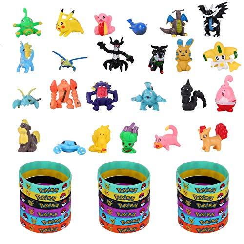 Pokemon, 42 Piezas Pokemon Monster Pokemon Mini Figure Pulsera de Silicona para niños y Adultos