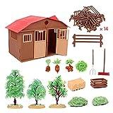 HoneybeeLY Maison de poupée - Simulation Farm Ranch - Modèle de scène d'assemblage de bricolage, jouet éducatif pour enfants Lovely 27 15 18.5cm
