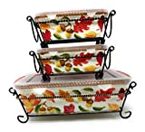 Temp-tations Set of 3 Loaf Pans w/Plastic Covers & Wire Racks, Stoneware (Harvest)