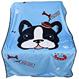 Ben-Av-RDTECH Ecological Beautiful Pet Blanket M-L PET-ECO Dog Blanket for Large or Medium Dogs - Warm, Durable Micro Plush Fabric to Protect Furniture - Blue with French Bulldog - 35x55 Inches