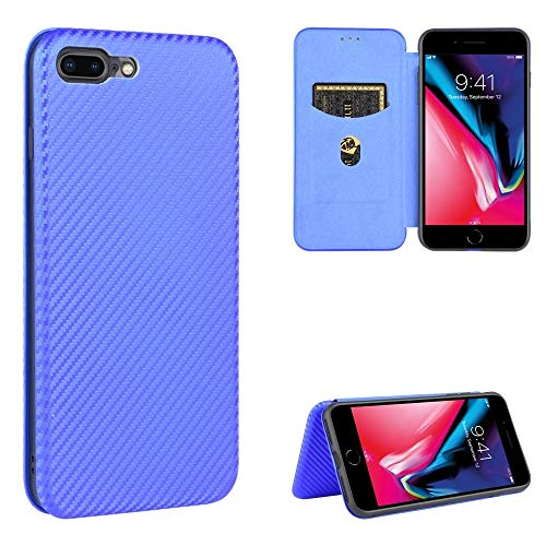 BAIYUNLONG Funda Protectora, for el iPhone 7 Plus Vuelta Horizontal de Cuero del Caso de TPU + PC + PU magnético / 8 Plus de Fibra de Carbono Textura con Ranura for Tarjeta (Color : Blue)