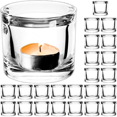 24 Stück Edle Gastronomie / Hochzeit Teelichthalter Teelichtglas Windlicht Teelicht Gläser für kleine Teelichter Glas Set