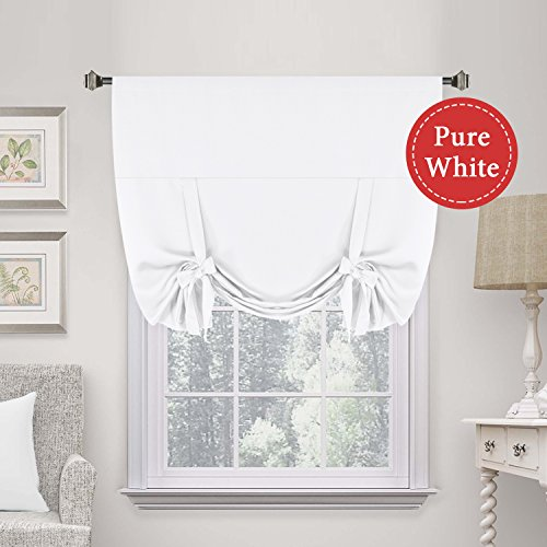 H.VERSAILTEX Premier Thermal Insulated Curtain Light Reducing Draperies Tie Up Window Shade (Rod Pocket Panel) - 42' Wide by 63' Long - Pure White