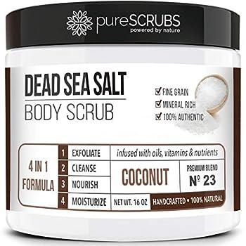 pureSCRUBS Premium Organic Body Scrub Set - Large 16oz COCONUT BODY SCRUB - Dead Sea Salt Infused Organic Essential Oils & Nutrients INCLUDES Wooden Spoon Loofah & Mini Organic Exfoliating Bar Soap