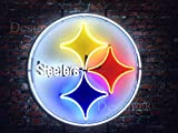 LeeQueen Creative Design Customized 24inx24in Pittsburgh Sports Team Steelers Neon Sign Light HD Vivid Printing Technology Man Cave Beer Bar Pub Handmade Real Glass Tube Lamp NT15