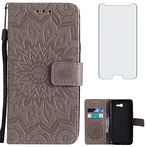 Phone Case for Samsung Galaxy J7 Prime 2017 J 7 Skypro Sky Pro J7V V S727VL Wallet with Tempered Glass Screen Protector Leather Slim Flip Cover Card Holder Stand Cell Glaxay Halo 7J Perx J7prime Gray