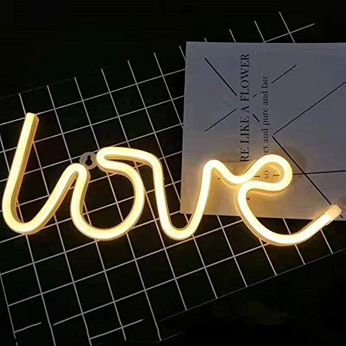 Neonlicht,LED Love Sign geformt Dekor Licht,Batterie oder USB-Stromversorgung,Wand dekorative Lichter, für Geburtstagsfeier, Weihnachten,Wohnzimmer, Büro-Dekor. (Love)
