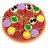 Batop 4 Stücke Set Küchenspielzeug Holz, Kinderküche Pizza Spielzeug DIY Rollenspiele Spielzeug für Kinder 3 4 Jahre Alt