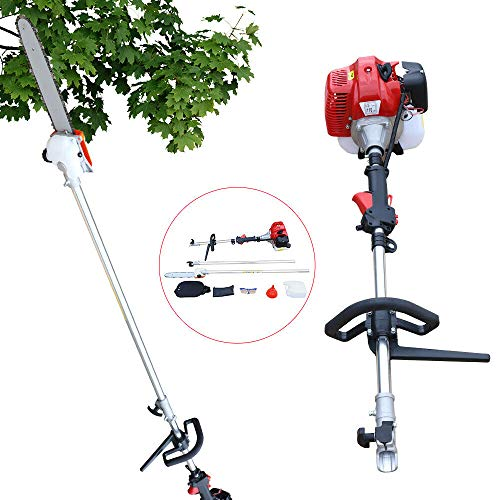 TFCFL 42.7CC Garden High Branch Saw 2.5M-3.5M,2 Stroke Gas Powered Pole Saw Split Shaft Chainsaw Pruner Trimmer Tree Trimmer for Outdoor Tree Tool New Garden Yard Gardening Scissors Power (Red)