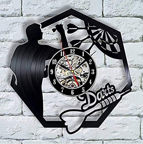 TIANZly Schallplatte Wanduhr Darts Schallplatte Wanduhr Man Cave Spielzimmer Dekoration 3D Uhr Wanduhr Dartscheibe Pub Bar Darts Spiel Nachtclub Dekor