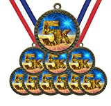 Large 2-1/2 inch Diameter Metal Antique Gold 5K Running Race Star Award Trophy Champion Winner Medals with Red White and Blue Neck Ribbons (Pack of 10)