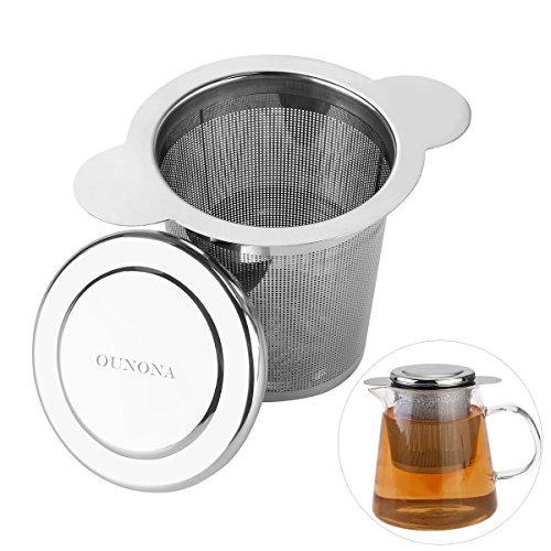 OUNONA Infusor de Te Filtros para TeAcero inoxidable 304 con la tapa para las tazas, las tazas, y los potes flojos del té del grano de la hoja