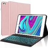 IVEOPPE Funda con Teclado para iPad Mini 5 2019 7.9 Pulgadas, Funda Ultrafino con Español Ñ Teclado Bluetooth 7 Colores retroiluminados Inalámbrico Compatible con iPad Mini 5/4/3/2/1 (Oro Rosa)