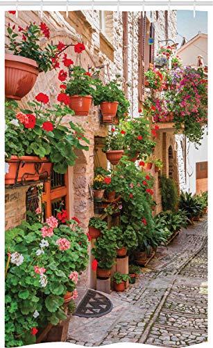 ABAKUHAUS Bunt Schmaler Duschvorhang, Kleine mittelalterliche Stadt, Badezimmer Deko Set aus Stoff mit Haken, 120 x 180 cm, Rot Grau