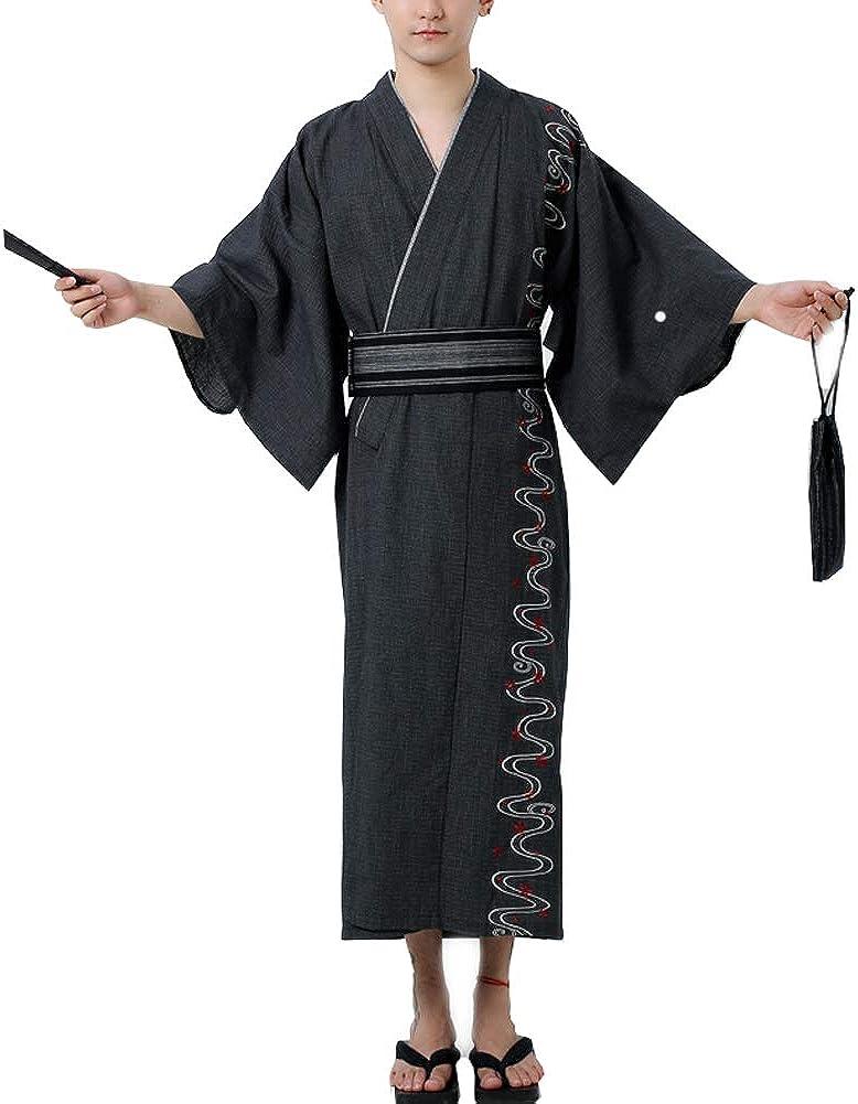 FANCY PUMPKIN Jinbei Men's Japanese Yukata Kimono Home Robe Pajamas Dressing Gown A14 【Size L】