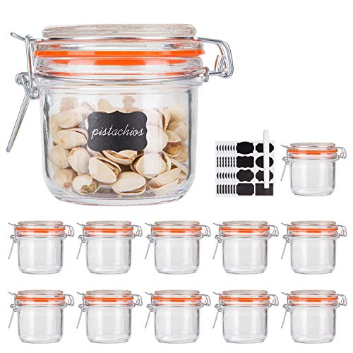 Glass Jars With Airtight Lids,Encheng 7 oz Mason Jars,Glass Jars With Leak Proof Rubber Gasket 200ml,Storage Jars With Hinged Lid for Home and Kitchen,GlassStorage Containers With Lids 12 Pack …