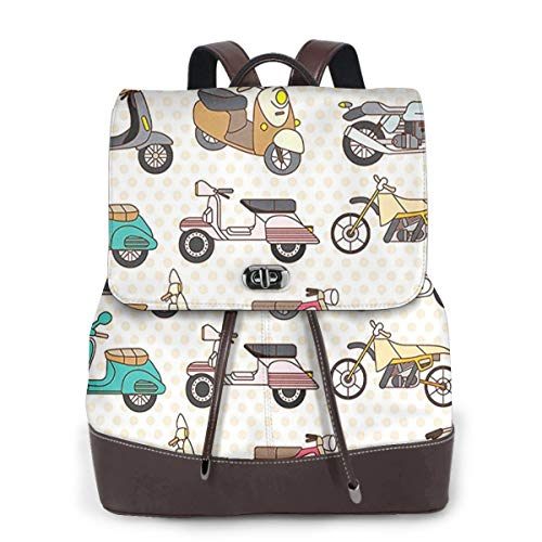 SGSKJ Rucksack Damen Roller Moped, Leder Rucksack Damen 13 Inch Laptop Rucksack Frauen Leder Schultasche Casual Daypack Schulrucksäcke Tasche Schulranzen