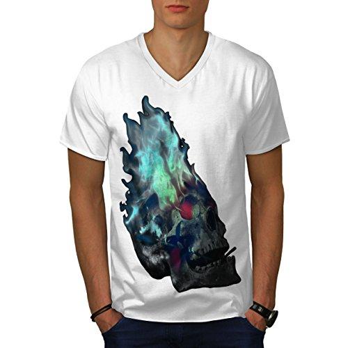 wellcoda lodernd Metall Rock Schädel MännerV-Ausschnitt T-Shirt Krieg Grafikdesign-T-Stück